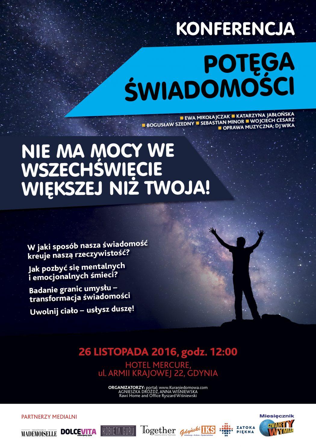 """magazynkobiet.pl - 6257 KONFERENCJA Plakat A3 06 1050x1485 - Kura Nie Domowa - Konferencja """"Potęga Świadomości"""""""