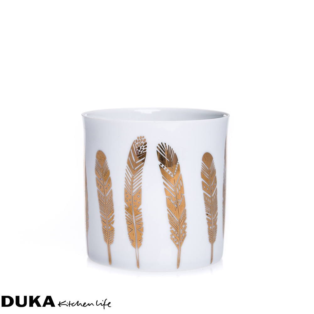 magazynkobiet.pl - ceramiczny lampion piora bialo zloty dukapolska com 31 - Złote motywy w kuchni - z czym je łączyć?