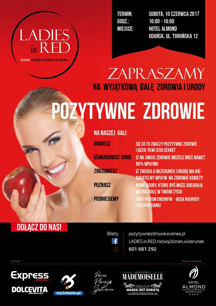 magazynkobiet.pl - L in Red Poster PozytywneZdrowie A3 724x1024 - II Gala LADIES in RED - Pozytywne zdrowie