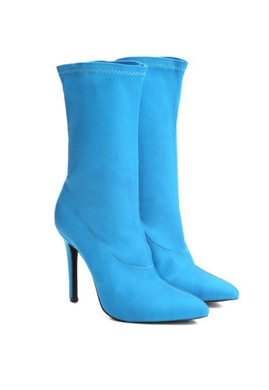 Niebieskie satynowe botki BURLESQUE - Renee