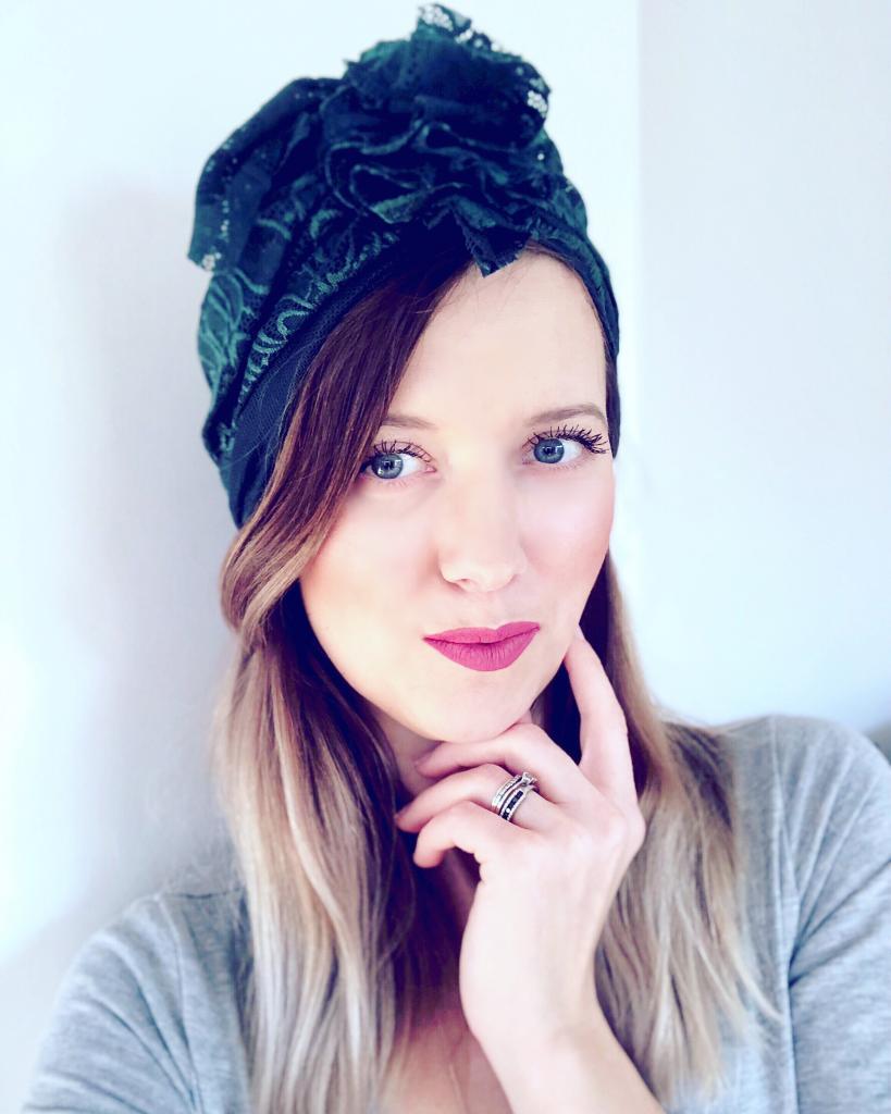 Turban dla kobiet Deep Green Lace