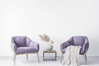 magazynkobiet.pl - two armchairs in modern living room design with pampas grass home accessories 330x220 - Jak wprowadzić kolor fioletowy do mieszkania?
